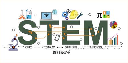Illustrazione di STEM - scienza, tecnologia, ingegneria, educazione matematica parola design tipografia in tema colorato divertente con elementi di ornamento icona