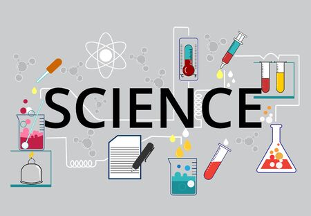 Science experiments Chemical experiments with a variety of scientific equipment are a demonstration of experimental procedures.and recording the results of scientific experiments,Text science Ilustracja