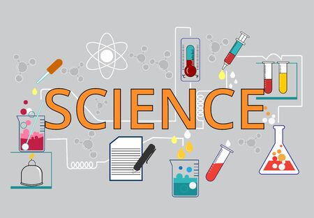 Science experiments Chemical experiments with a variety of scientific equipment are a demonstration of experimental procedures.and recording the results of scientific experiments,Text science Çizim