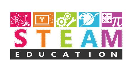STEAM STEM Education. Science Technology Engineering Arts Mathematics. Gear, calculate. Reklamní fotografie - 133035882