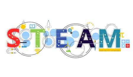STEAM STEM Education. Science Technology Engineering Arts Mathematics. Gear, calculate.