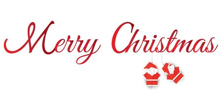 merry christmas red hand lettering inscription to winter holiday design, calligraphy vector illustration and fold the paper into the shape of Santa Claus. Hang with a rope