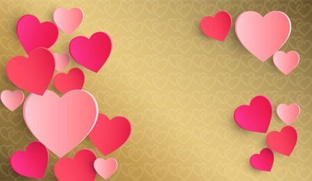 Heart shades of pink  on a golden background. paper cut style, For greeting cards, greeting writing, Valentines Day