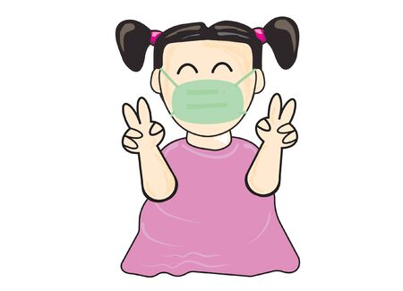 Girl wear a mask lift two fingers  The smiling faces that express the appearance of the eyes.vector illustration  Child's drawing style show showing lifts two fingers up fighting covid-19.