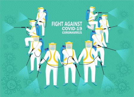 Illustration People in Protective Suit fight Against Covid-19  by Spraying Spray to Cleaning and Disinfect Virus, Preventive Measures, Health Care and Safety. Illustration on green background.