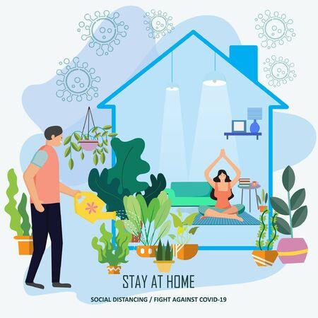 家にいなさい。コロナウイルス予防のための啓発キャンペーン。植樹植物の世話をする植樹として自宅での活動に適応する。家の外に避ける., Covid-19との戦い, ベクターイラストレーション