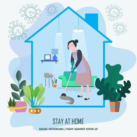 Stay at home. awareness campaign for coronavirus prevention. Adapt to activities at home as hobby, spending time cleaning the house . Avoid  to Outside house., Fight Against Covid-19