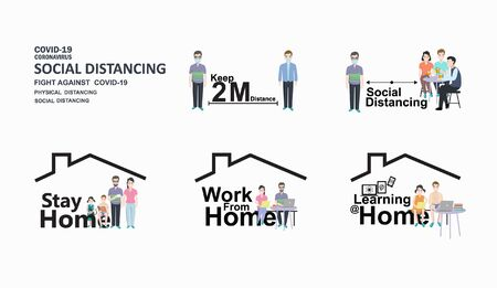 Social distancing. keep distance public society people. Such as Keep physical distance, Stay at home, Work at home, Learn at home, to protect from COVID-19 outbreak spreading.Vector icon with text 矢量图片