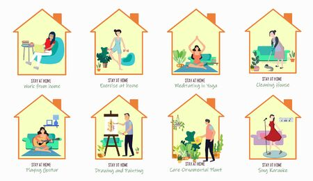 Social distancing. People and families doing different activities Such as Stay home,Work at home,Cleaning house,Exercise,Yoga,Drawing, Tree care,Singing. to protect from COVID19 outbreak spreading.
