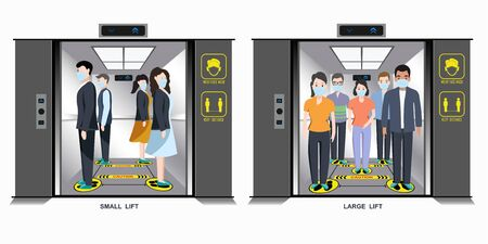 People wearing masks and How to standing in lift. Prevent the outbreak covid19.To plan for prevention such as planning to use elevators to maintain physical distance. t new normal (New way of life) Vektoros illusztráció