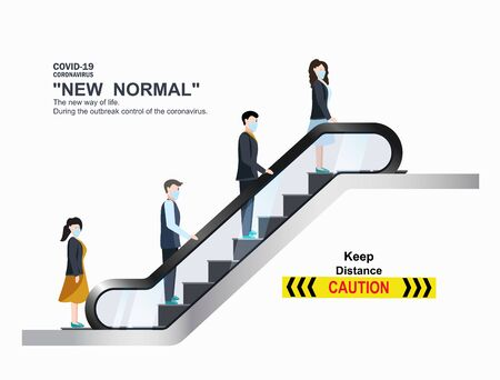People wearing masks. use escalators with keeping the distance. Prevent the outbreak from covid19. Plan for prevention such to maintain physical distance. New normal (New way of life).