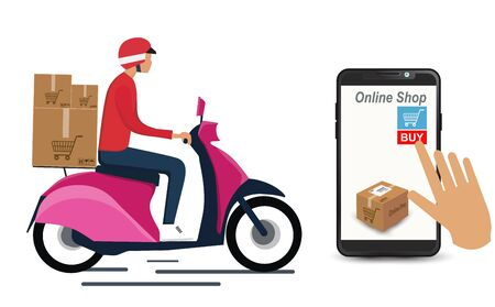 Delivery Boy wearing a red shirt and scooter Motorcycle. with a Smartphone that has a package box on the screen. for the online store website. To arrange the elements web page shopping online