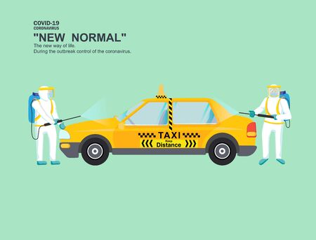 Cleaning the taxi to kill the virus. Exterior and interior of the car to prevent the outbreak from covid19. in the taxi.  to maintain physical distance. New normal (New way of life). Çizim
