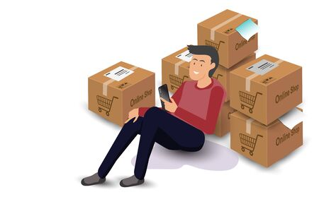 Male seller using a smartphone to inspect product orders. And prepares the delivery product box for the customer. From doing business shopping online, or business ecommerce.