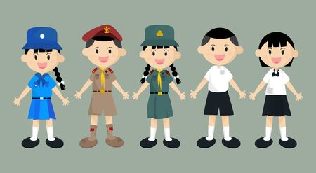 Student, boy scout, and girl scout. Cartoon boy and girl Dress in Thai school uniform. For designing public relations related to student activities such as back to school.