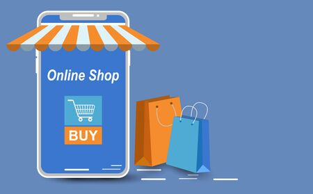 Smartphone with screen for product images. or for the online store website. Blue and orange elements To arrange the elements web page shopping online. Along with the bagged product.