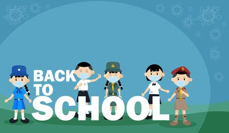 Students, Scout, boy, and girl Dress Thai school uniform wear a medical mask. Is New normal way of life. Concept of Back to school text.The range outbreak control. The outbreak of the Covid-19.