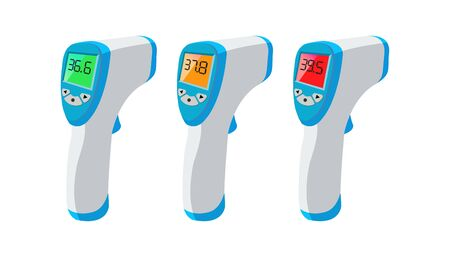 Handheld thermometer to measure fever body temp meters. Body temperature compares Normal, medium, high for medical poster, Key tool The range outbreak control of the Covid-19. Is of the new normal. Ilustrace
