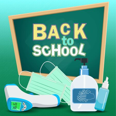 Back to school text. for new normal lifestyle concept.The range outbreak control.The outbreak the Covid-19. Prepare With important as medical masks, hand washing gels, mobile fever measuring devices