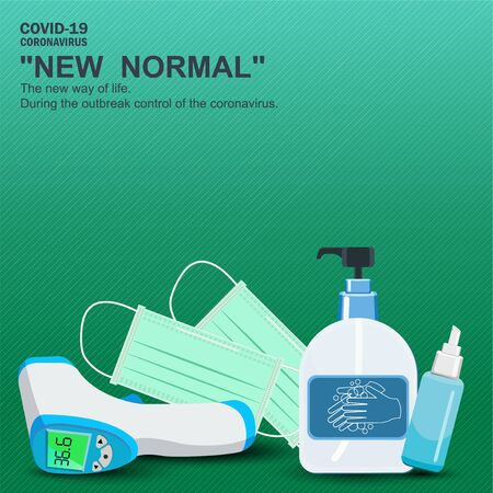 Important equipment during the epidemic control covid19. as medical masks, hand washing gels, mobile fever measuring devices for prevention is a new normal, new way of life