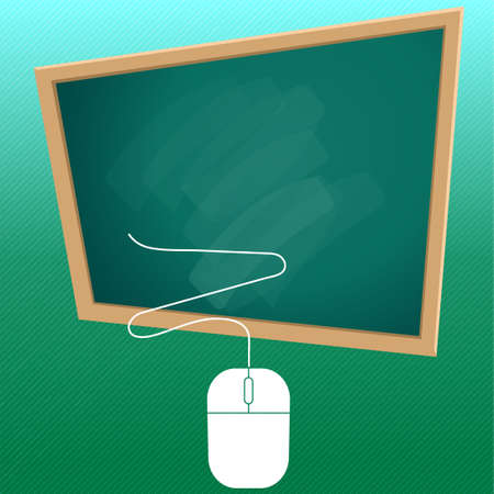 Concept of distance education, studying at home, e-learning, Various education symbols on the blackboard, and space on the blackboard for text. And computer mouse Which is a tool to help to learn.