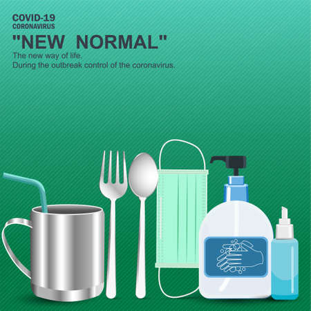 Important equipment during the epidemic control covid19. Include medical masks, hand washing gels, Spoon, fork, glass, personal, for prevention is a new normal, new way of life