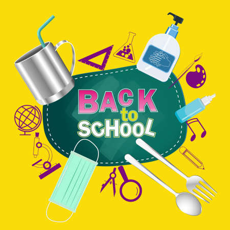 Back to school text. for new normal lifestyle concept.The range outbreak control.The outbreak the Covid19. Prepare With important as medical masks, hand washing gels, spoon, fork, glass, personal