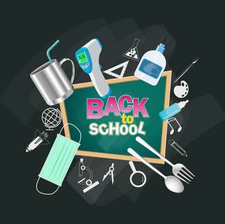 Back to school text. for new normal lifestyle concept.The range outbreak control.The outbreak of  Covid19. Prepare With medical masks, hand washing gels, spoon, fork, glass, personal, and fever meter.  Ilustração
