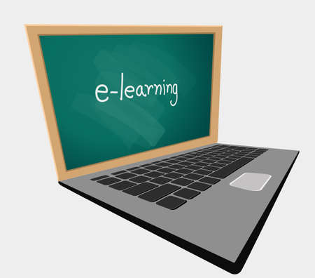Learning at the home text. online education web concept. Laptop with chalkboard illustration. Homeschooling learning via Laptop, Tablet, and Mobile phone. Composition of pictures on the home desk.