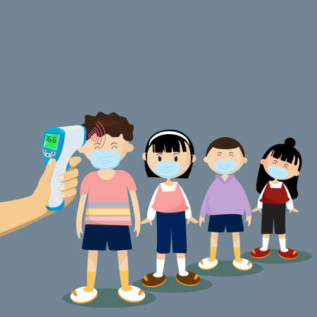 Children undergo body temperature tests. by Handheld thermometer When arriving at school, Before going to the classroom.