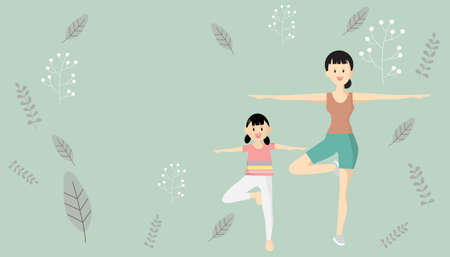 Mother, daughter play yoga. Women and girls doing meditation with exercises at home. Yoga posture on a green background and vintage pattern  Avoid to the Outside house., Fight Against Covid-19