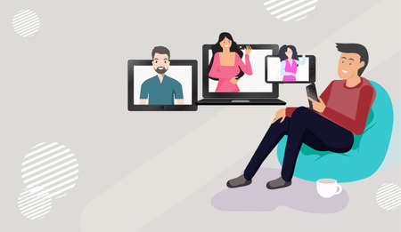 People video call meeting at home. by using phone, tablet, laptop. Via social media networks. for leaving comments in social networks. with guys and women image sticking out the screen.   Stock Illustratie