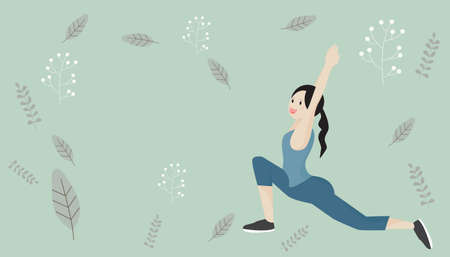 Play yoga. Women doing meditation with exercises. In a quiet room at home. Yoga posture on a green background and vintage pattern  Avoid to the Outside house., Fight Against Covid-19