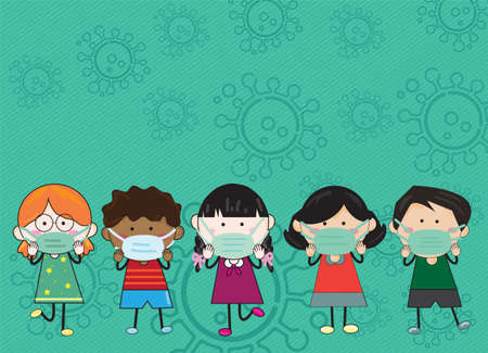 Five children, boys and girls wear a mask. To protect against Covid-19. vector illustration Child's drawing style on a green background with a virus symbol.