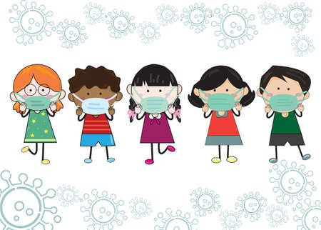 Five children, boys, and girls wear a mask. To protect against Covid-19. vector illustration Child's drawing style on a white background with a virus symbol. Vettoriali
