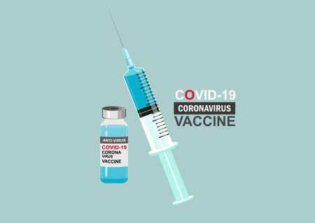 Medicine bottle for injection. Medical glass vials and syringe for vaccination. Isolated vector illustration Covid-19 Coronavirus concept. Vector Illustration