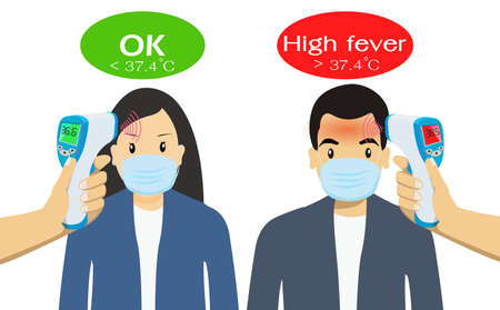 Peoples undergo body temperature tests. by Handheld thermometer. Body temperature compares to Normal and high fever. Key tool The range outbreak control of the Covid-19. Is of the new normal. 矢量图像