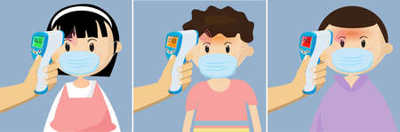 Children Boy and girl undergo body temperature tests. by Handheld thermometer. Body temperature compares Normal, medium, high. Key tool The range outbreak control of the Covid-19.Is of a new normal. 矢量图像