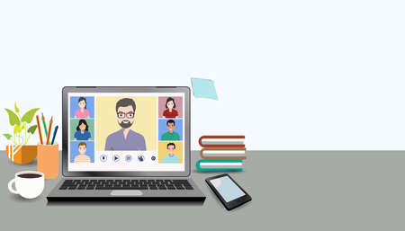 Video online conference. Video meeting of people group and interview. Online communication. Working freelance, e-learning or studying at home in laptops. Composition of pictures on the home desk. 向量圖像