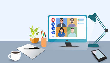 Video online conference. Video meeting of people group and interview. Online communication. Working freelance, e-learning or studying at home in computer. Composition of pictures on the home desk. Illusztráció