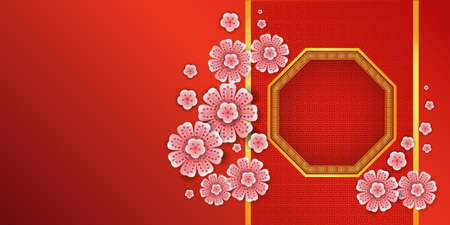 Red Gold vector patterns. Octagon frame with Chinese pink flowers On Chinese style pattern background For the design of the Chinese New Year.  Ilustração