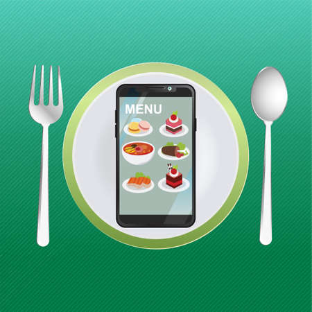 Order food online. Food delivery. Food menu on the smartphone, ordering food through smartphones. on the background of an empty plate. with spoon and repair. Concept vector illustration Fast food.