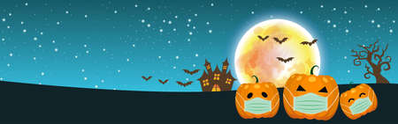Halloween pumpkins Wearing a medical mask. and a big moon. on the blue sky background, for Web Banner Design, Banner background. Happy Halloween concept. During the COVID-19 outbreak control period.