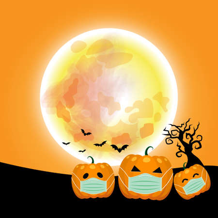 Halloween pumpkins Wearing a medical mask. under the moonlight on the Orange background, Black trees and bats., space for text. Happy Halloween concept. During the COVID-19 outbreak control period.