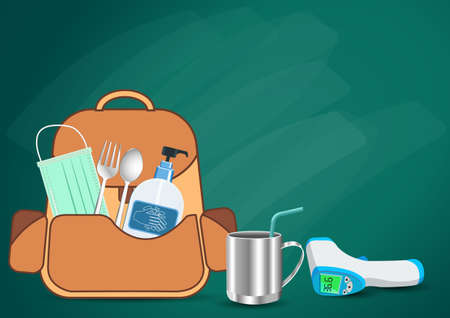 Backpack Prepare With important as medical masks, hand washing gels, fever measuring devices. New normal, Back to school concept. to Prevent the outbreak during the Coronavirus Covid-19 pandemic.