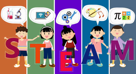 STEAM Education. Cartoon boy and girl. Education Across the Disciplines. Science Technology Engineering Arts Mathematics. Composition With a white text box or speech bubble at the top.
