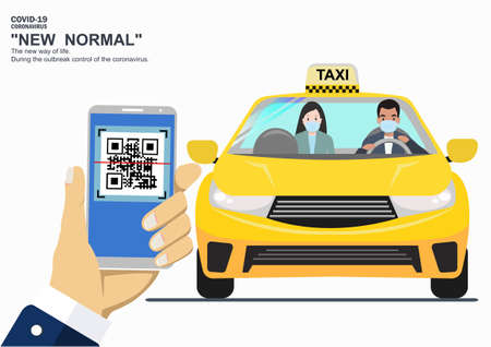 Hand with scanning QR code. Access the location during the outbreak control period. Using a taxi All people must register their identity By the follow-up platform. is New normal of life.