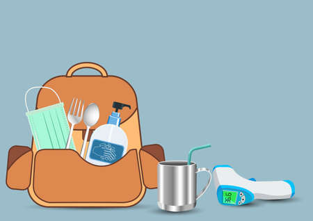 Backpack Prepare With important as medical masks, hand washing gels, fever measuring devices. New normal, Back to school concept.