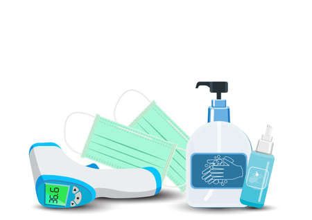 Important equipment during the epidemic control covid19. as medical masks, hand washing gels, mobile fever measuring devices for prevention is a new normal, new way of life. white background  Isolated