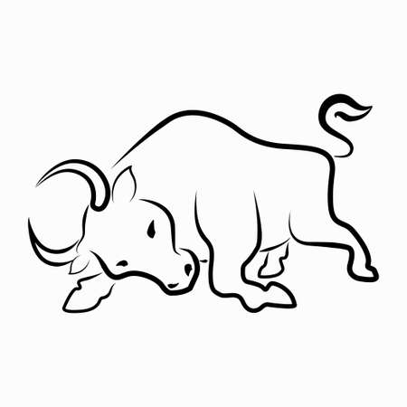 The cow Black and white line art character, simple hand drawn Asian elements with craft style. for design The Year of the Ox. Chinese New Year 2021. vector illustration. Isolated on white background.